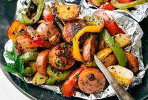 Papillotes de saucisses italiennes et legumes