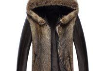 Men's Fur Coat, Fur Trim Coat, Parka / Men's Fur Coat, Fur Trim Coat, Fur Parka