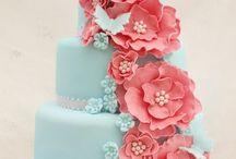 Peach and Light Blue wedding