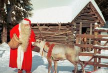 Santa and reindeer / Reindeer are the magical helpers of Santa Claus in Lapland, Finland