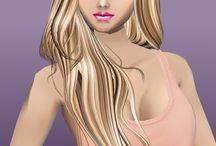 Modelo de cabelo e Roupá