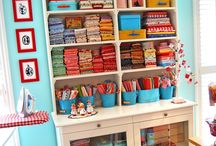 Creative spaces / sewing room and great ways to display your craft stuff