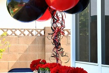 Red and Black Themed Graduation Party / Graduation center pieces, games, candy, decorations, ideas ideas ideas!