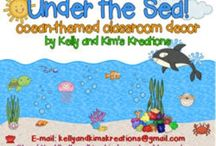Ocean Classroom / Classroom decor or classroom decoration ideas with an ocean theme. These ocean classroom plans are designed for primary grades but can be utilized at any grade level.