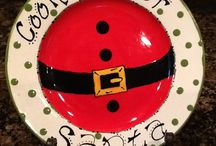 Christmas painted plates