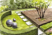 drawing and  rendering landscape projects