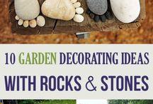 Garden decorating with rocks