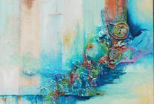 Paintings. Own creations / van mixed media tot art journal tot schilderijen.  Eigen creaties