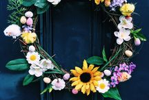 Easter Decor / Decoration for the home for the Easter period including door wreaths and bunnies