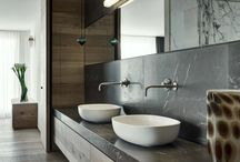 stone/wooden sink and basin