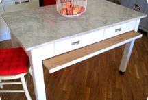 Tavolo legno e marmo