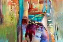 акварельные красочные абстракции