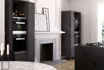 Kitchens with feature doors / Kitchens can be transformed by using small areas of feature colours or finishes, here are some of our favorite two tone kitchens using feature doors