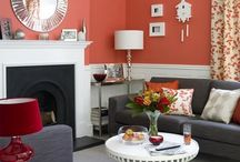 color / coral, poppy red, ice cream pastel, pewter, bright and cheery, blue and yellow, decorating, red and blue, gray, paint color, rooms,  / by Tiffany McNett Fisher