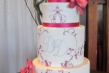 fuschia and white with sugar orchids and roses wedding cake