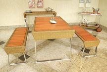 Linha El Tabo / A linha El Tabo é composta por mesa (retangular) banco, aparador e carrinho de chá.