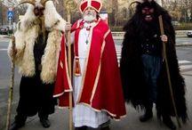 Hongarije Mikolás Bácsi of Szent Miklós / In Hongarije kent men ook een Sinterklaas viering , maar dan wel op zijn eigenlijke heiligendag 6 december. De Sint (Mikolás Bácsi of Szent Miklós) gaat met zijn metgezel 'duivel' Krampusz / engelen langs scholen, kinderdagverblijven, kerken en huislijkbezoek om een bezoekje te brengen en uit het grote boek voor te lezen of de kinderen wel lief zijn geweest!