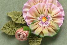 Flowers - ribbon & fabric
