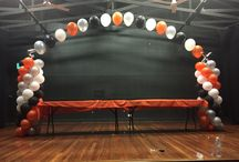 Orange,Black,Silver, White Themes / Balloon Ideas for themed Party , Great in orange, Black, white and Silver