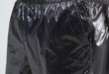 2) mens; shiny jacket, short, overall, pvc raincoat ....