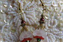 petal bead earrings