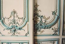 ~Embellishments~ / Papers, plaster, ribbons, wraps, trims, on walls, wood, furniture and packages..