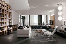 """Projet - *Dehan* / salon / Aménagement d'un espace de vie """"en L"""" composé d'un salon et d'une salle à manger, de style contemporain classique."""