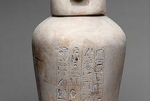 Egipto - Vasos canópos y ushebtis / Antigüedades egipcias