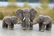 needle felted elefant, kanguru