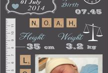 Birth Announcement Boards / A creative way of recording the details of your child's birth.