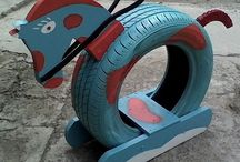 Upcycling von alten Autoreifen / Upcycling avec des pneus usagés
