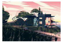 Cabins - Cruschiform / Les illustrations créées par l'artiste Cruschiform sont tirées du livre Cabins, edité par Taschen, consacré aux cabanes architecturales contemporaines. La maison d'edition a fait appel à l'artiste pour réaliser un ensemble d'illustrations d'ouverture de chapitre.