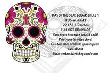 Cinco de Mayo/Day of Dead Yard Art Projects / Paper and PDF downloadable patterns to create yard art decorations to celebrate Cinco de Mayo (May 5) and the Day of the Dead (Oct 31-Nov 02).