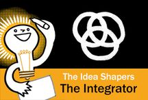 The Idea Shapers: The Integrator / In her 2016 book The Idea Shapers, Brandy Agerbeck makes visual thinking attainable and enjoyable through a set of 24 Idea Shapers. The Integrator is the third visual thinking concept in the fifth and final step, GRASP.