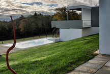 Luxury Restoration / Drakeley Pool Company restored a swimming pool at Stillman House I, a home designed in the modern style by Marcel Breuer in 1950 in Litchfield County, CT.