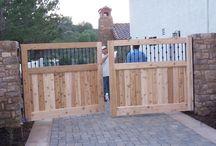 Custom Wood Gates / Wood pedestrian gates and motor court gates custom made by Crown Garage Door & Gates. 949-348-0458 http://crownsgd.com/
