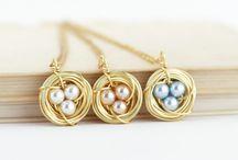 Bird Nest Pendants / Handmade bird nest pendants in a variety of styles and colors made by Jacaranda Designs