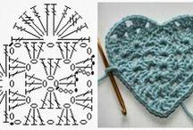 corações de crochet