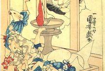 歌川国芳 Utagawa KUniyoshi / うたがわ くによし 寛政9年11月15日(1798年1月1日) - 文久元年3月5日(1861年4月14日)江戸時代末期の浮世絵師 画号は一勇斎。江戸時代末期を代表する浮世絵師の一人であり、画想の豊かさ、斬新なデザイン力、奇想天外なアイデア、確実なデッサン力を持ち、浮世絵の枠にとどまらない広範な魅力を持つ作品を多数生み出した。歌川広重とは同年の生まれであり、同時代に活動した。