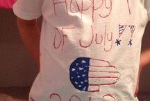 July 4th / Hand print flag shirt