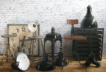 Industrial lamps and furniture / Old industrial lamps and furniture from Czech republic