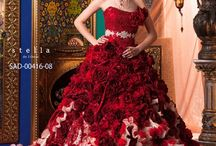 Stunning wedding dress in many shades of red