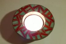 cement and glass tealight