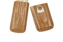 Cigar Case Travel 3 Holders Humidor – Crocodile Leather Case with Silver Stainless Steel Cutter Cigar Set