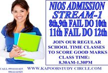 NIOS Online Admission for Failed Students / NIOS Online Admission Stream for Failed in Class 10th and 12th CBSE Board Exam. 10th and 12th Failed can apply from NIOS Board in 2017. http://www.kapoorstudycircle.com/nios-admission/