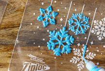 Snöflingor av lim mm