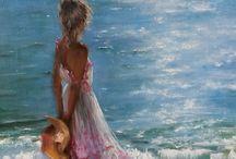 картины семья на море