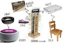 Mobiliario Tiendas / Muebles a partir de materiales #recicaldos y #reutilizados.
