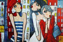 peintures femmes colorees