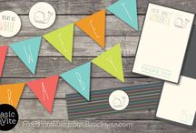 Free Printables / Create a perfectly themed baby shower with these free printable sets that are patterned after one of Basic Invite's baby shower invitations.  Each set includes a bunting banner, cupcake toppers, folded treat cards, water bottle wraps, and thank you cards for your guests.
